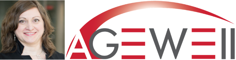 Principal Research at the CRECS Virginie Cobigo placed next to the AGEWELL logo.